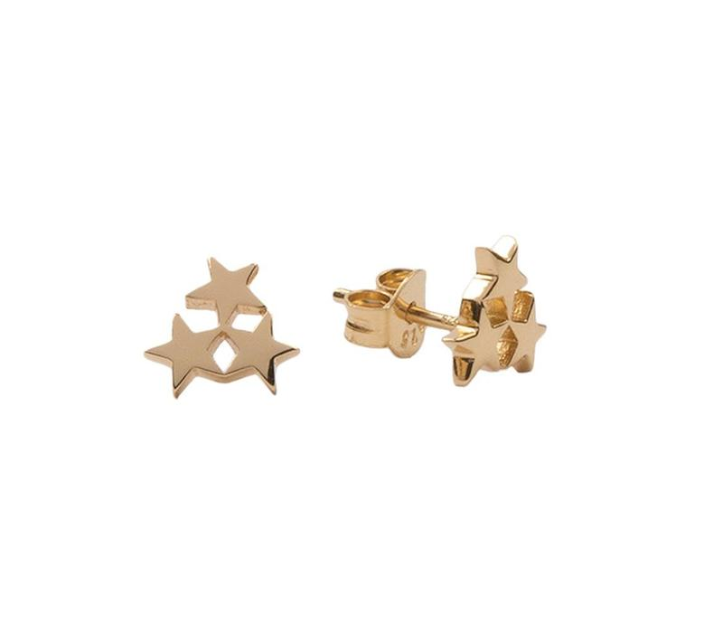 Earrings Three Stars Small gold