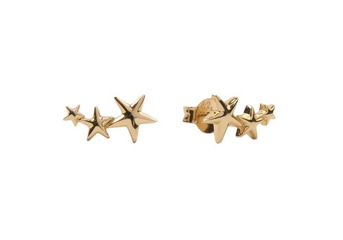 All the Luck in the World Parade Goldplated Earrings Three Stars Big