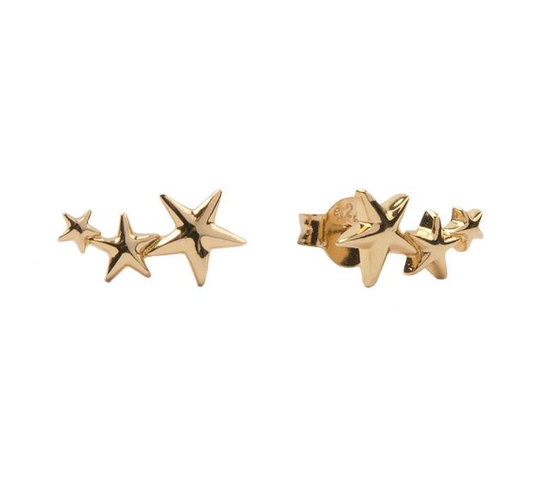 Oorbellen Drie Sterren groot 18K goud