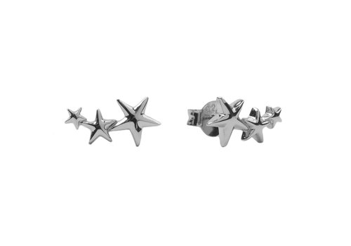 All the luck in the world Earrings Three Stars Big silver