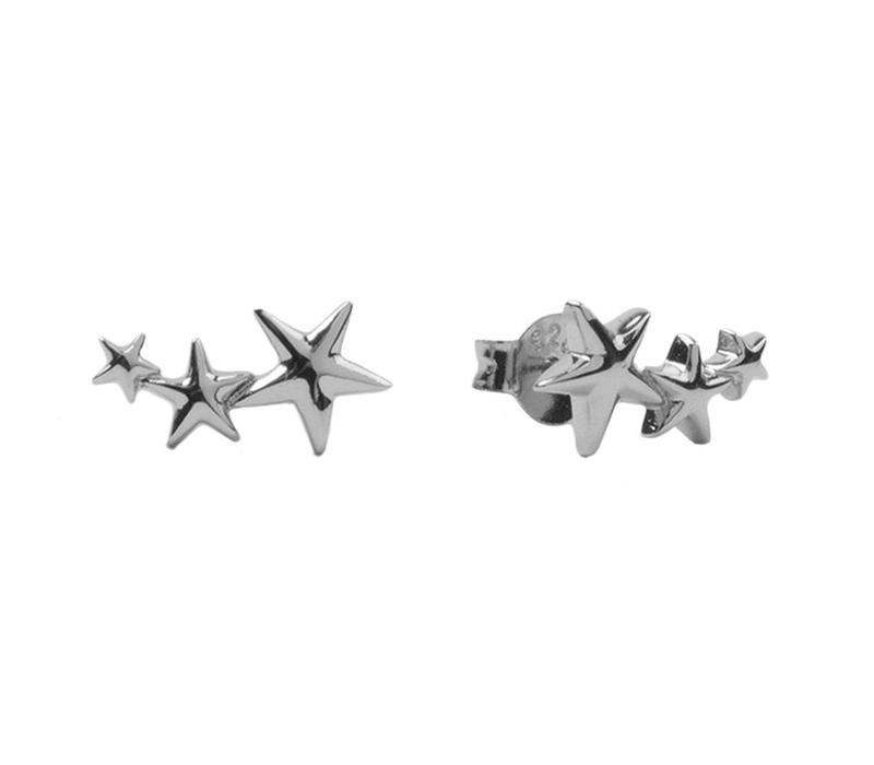 Oorbellen Drie Sterren groot zilver