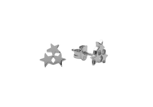 All the Luck in the World Parade Silverplated Earrings Three Stars Small