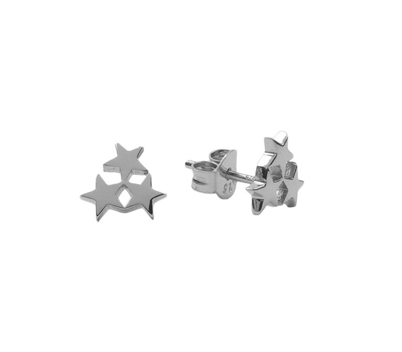 Earrings Three Stars Small silver