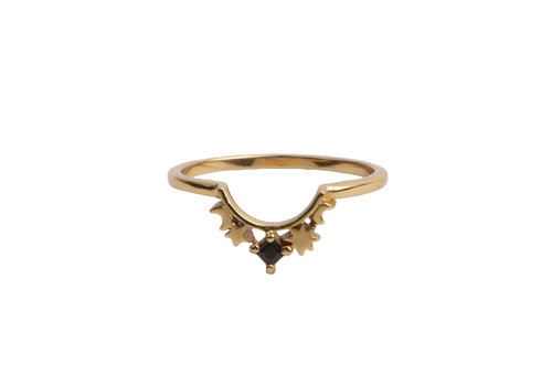 All the Luck in the World Magique Goldplated Ring Kroon Ster Zwart