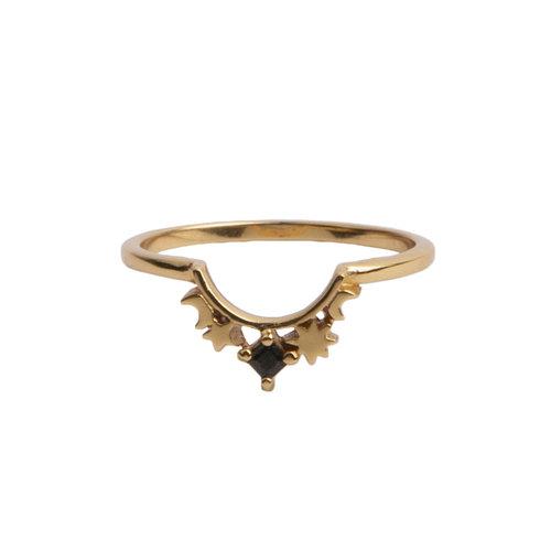 Ring Kroon Ster Zwart 18K goud