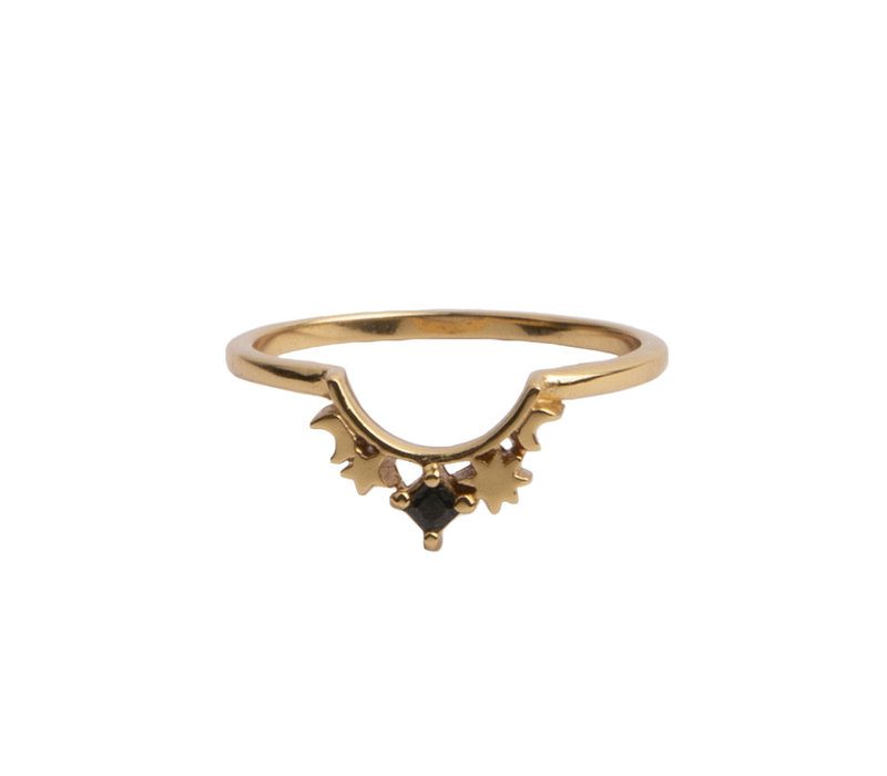 Ring Crown Star Black plated
