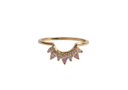 All the Luck in the World Magique Goldplated Ring Kroon Roze Transparant