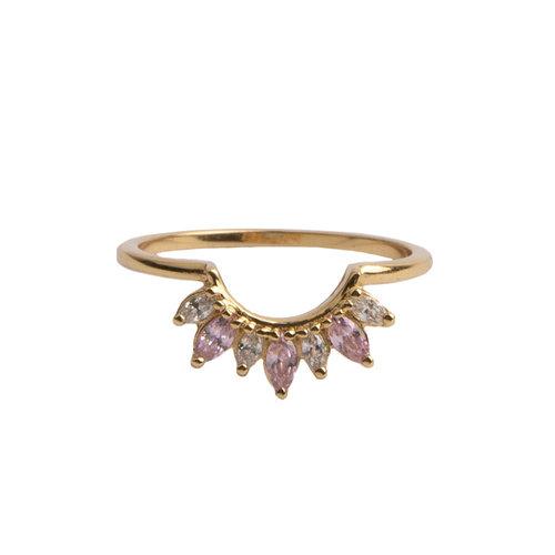 Ring Kroon Roze Transparant 18K goud