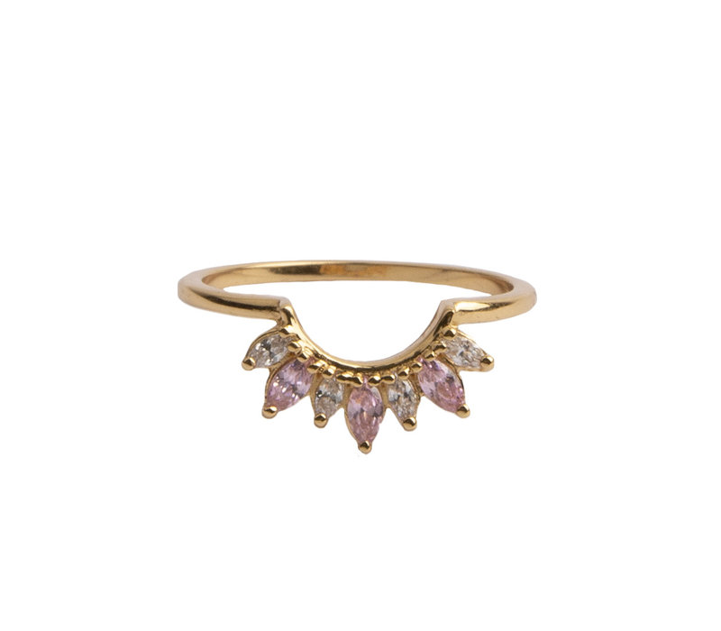 Magique Goldplated Ring Crown Pink Clear