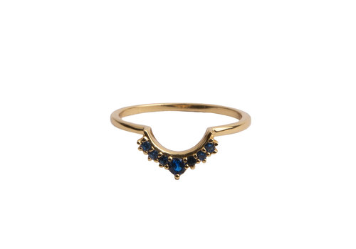 All the Luck in the World Magique Goldplated Ring Kroon Blauw