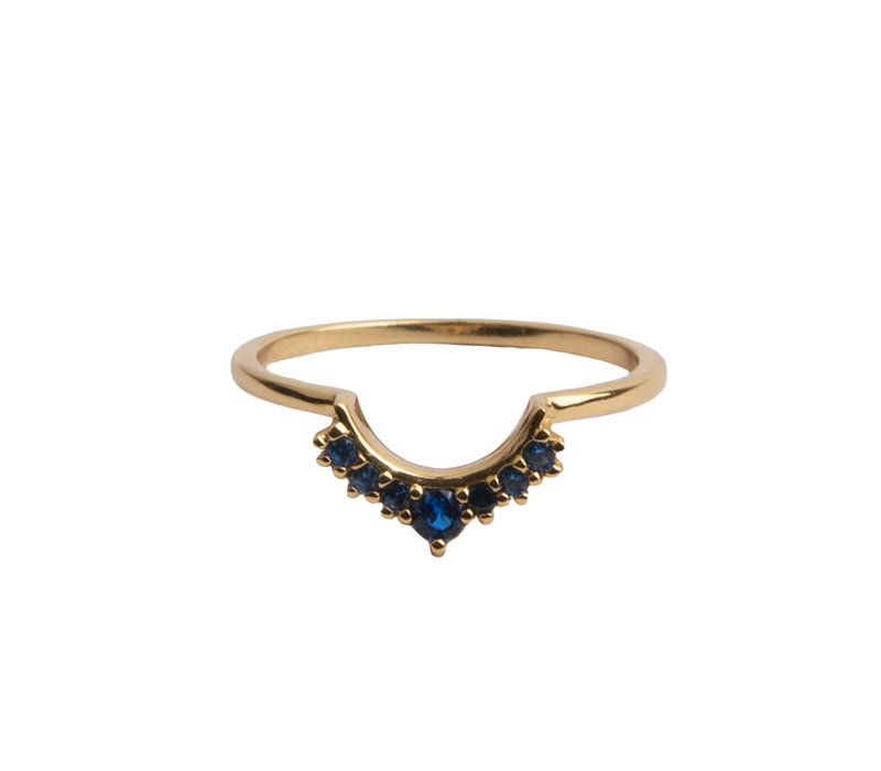 Magique Goldplated Ring Crown Blue
