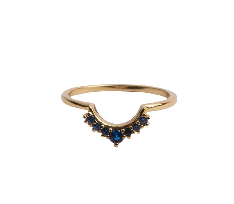 Ring Kroon Blauw 18K goud