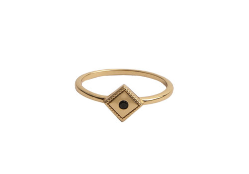 All the Luck in the World Magique Goldplated Ring Rhomb Black