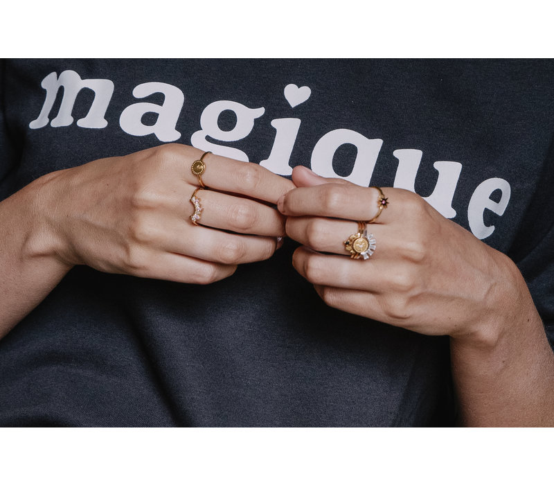 Ring Ster Roze verzilverd