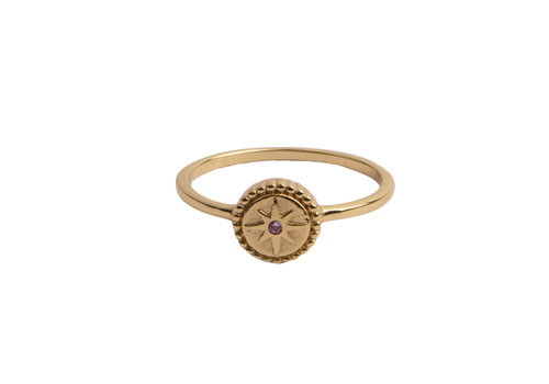 All the Luck in the World Magique Goldplated Ring Coin Starburst Pink