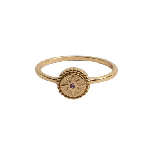 Ring Coin Starburst Pink 18K gold