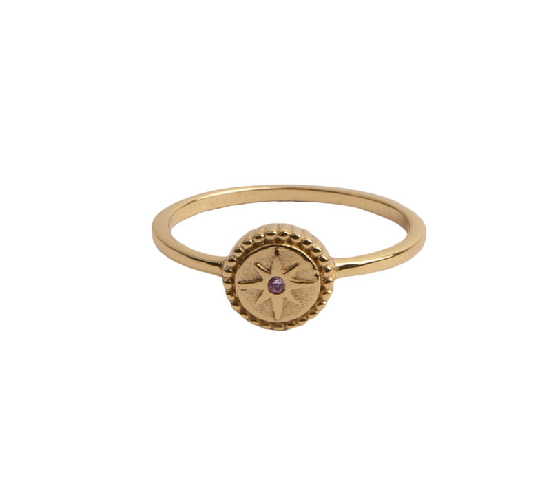 Magique Goldplated Ring Coin Starburst Pink