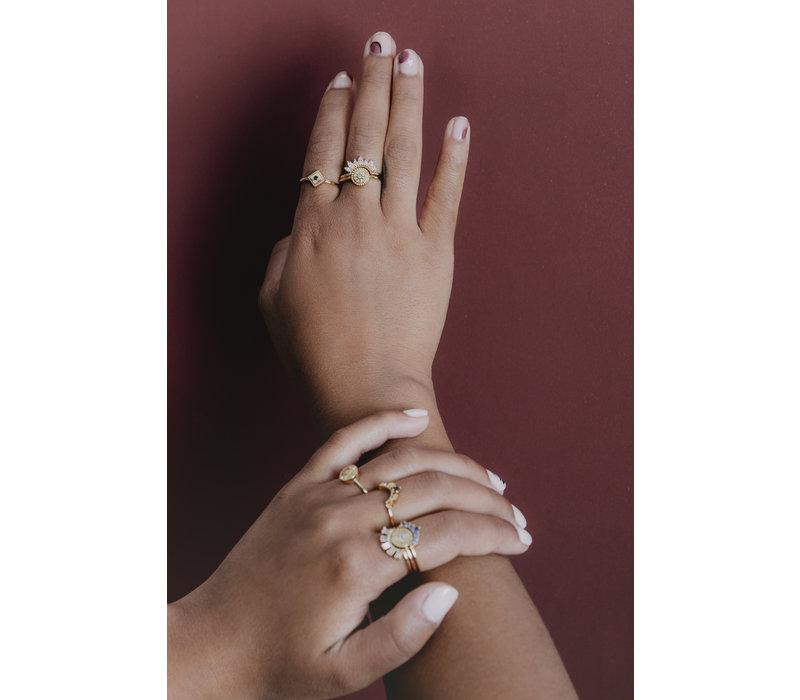 Magique Goldplated Ring Munt Starburst Roze