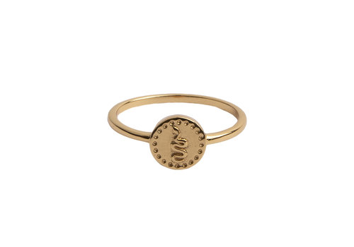 All the Luck in the World Ring Coin Snake 18K gold