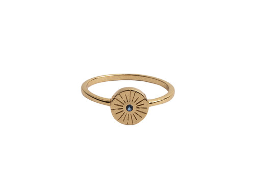 All the Luck in the World Ring Coin Burst Blue 18K gold