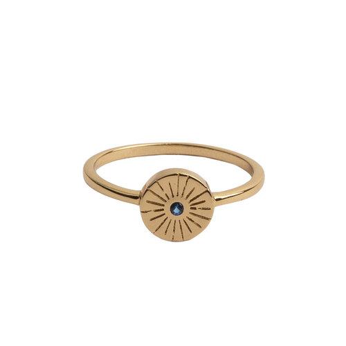 Ring Coin Burst Blue 18K gold