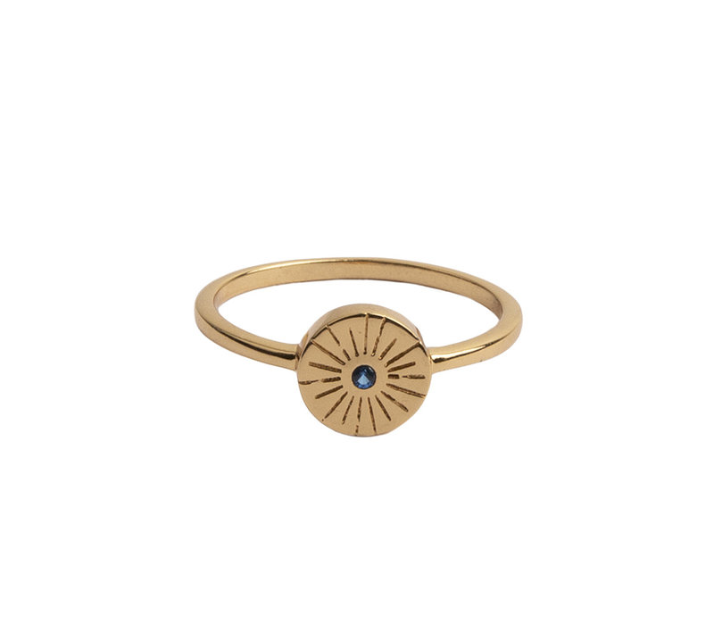 Ring Coin Burst Blue 18K gold