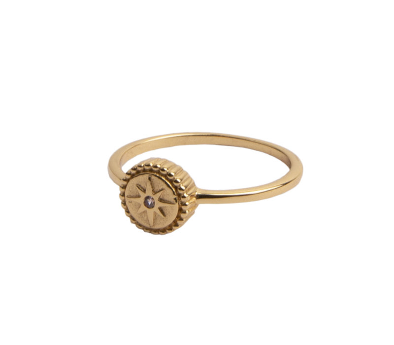 Ring Coin Starburst Pink 18K gold