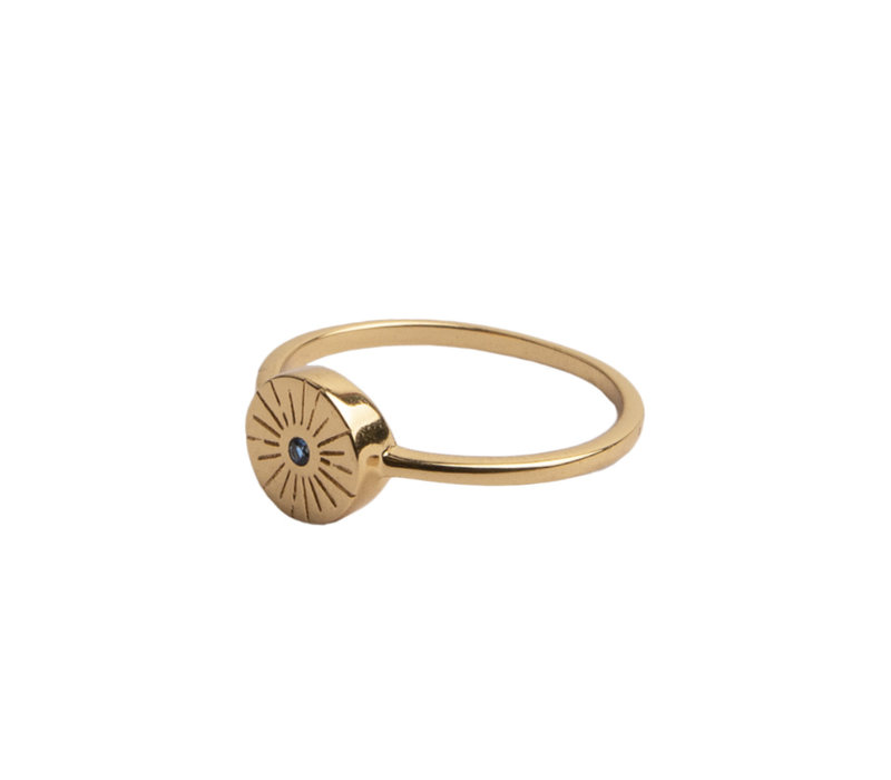 Magique Goldplated Ring Coin Burst Blue