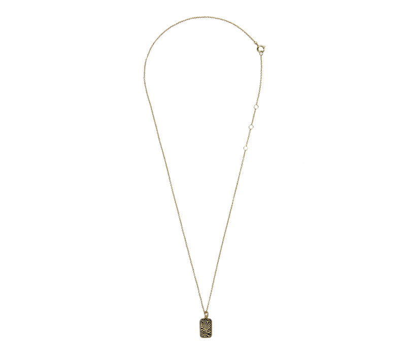 Charm Goldplated Necklace Zebra Rectangle