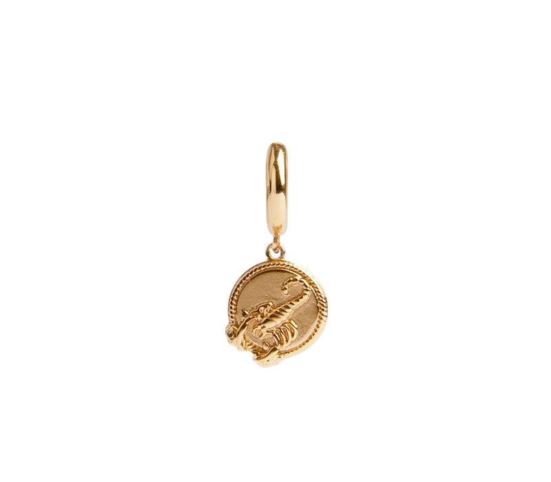 Oorbel Schorpioen Cirkel 18K goud