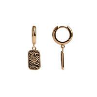Oorbel Zebra Rechthoek 18K goud