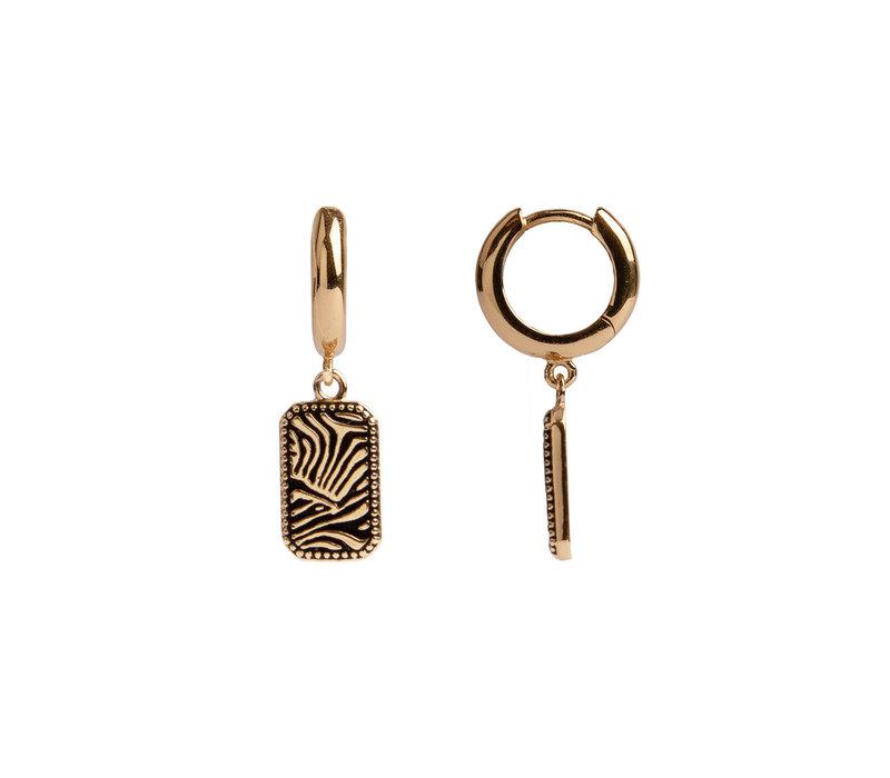 Charm Goldplated Oorbel Zebra Rechthoek