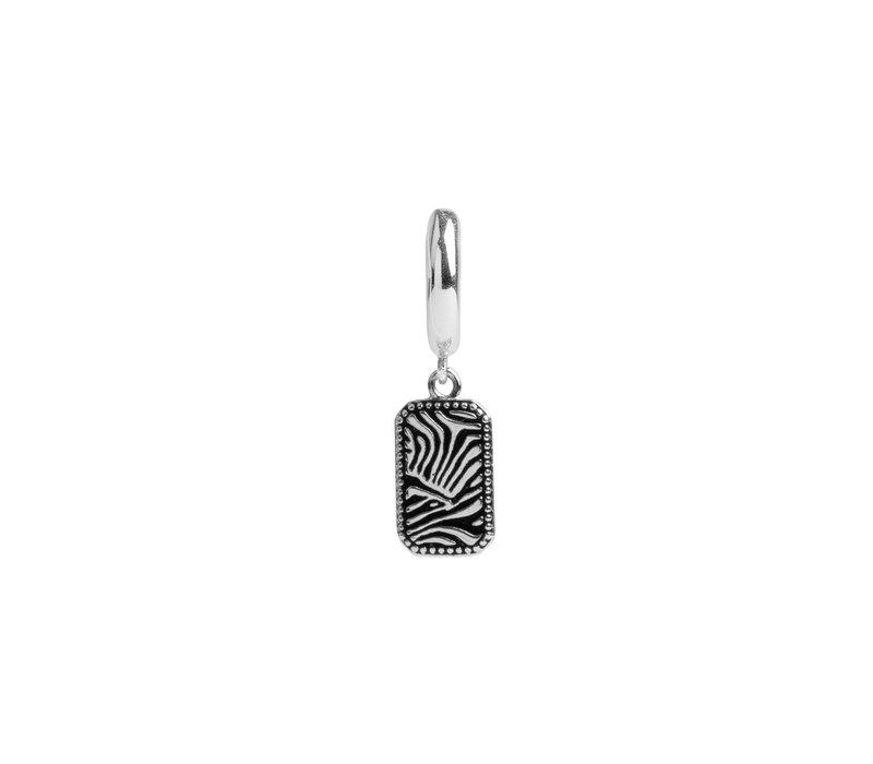 Oorbel Zebra Rechthoek zilver