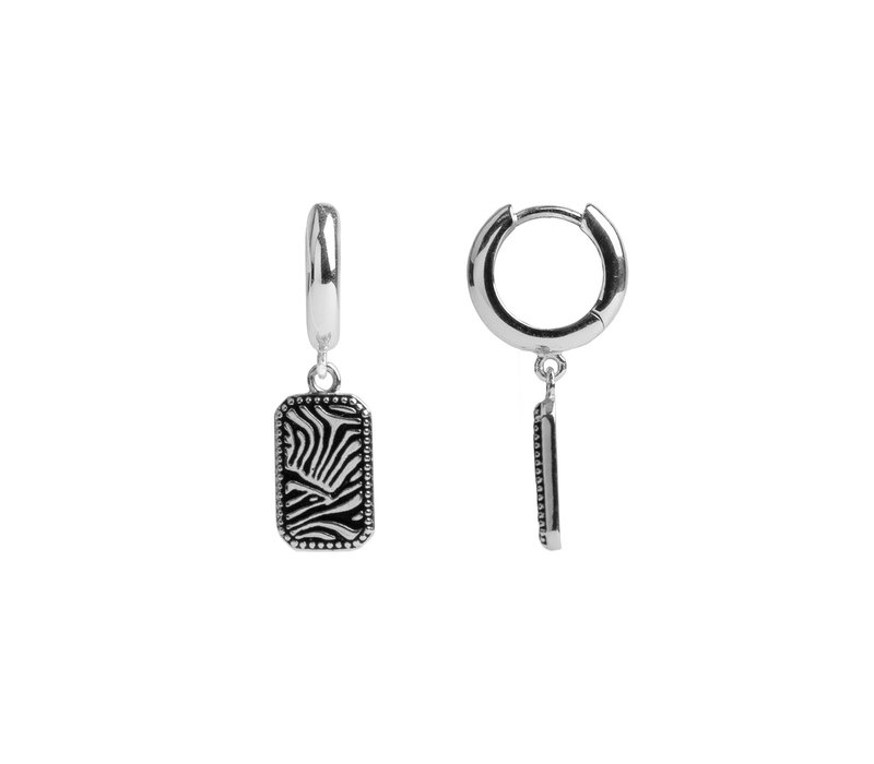 Charm Silverplated Earring Zebra Rectangle