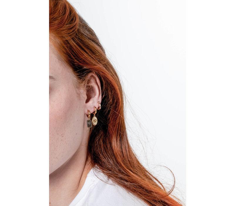 Charm Goldplated Earring Zebra Rectangle