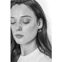 Earring Sun Moon Oval silver