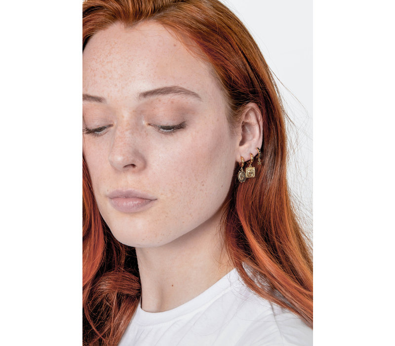 Charm Goldplated Earring Sun Moon Oval