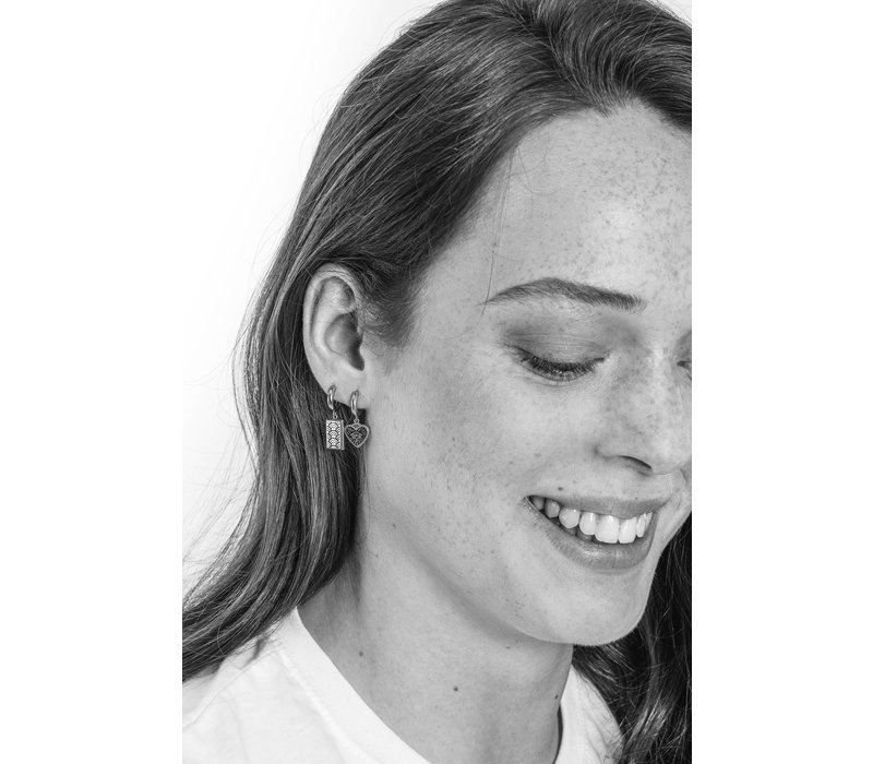 Charm Silverplated Earring Rainbow Rectangle