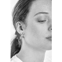 Charm Silverplated Earring Moon Stars Square