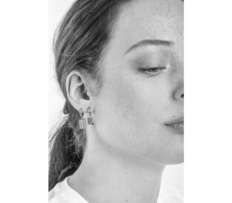 Earring Moon Stars Square plated