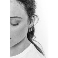 Charm Silverplated Earring Hummingbird Rectangle