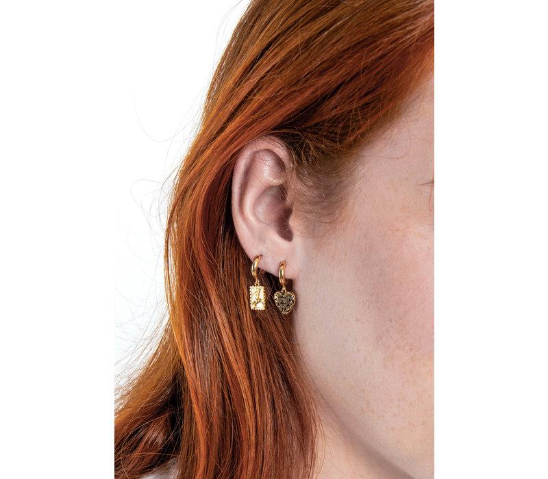 Charm Goldplated Earring Hummingbird Rectangle