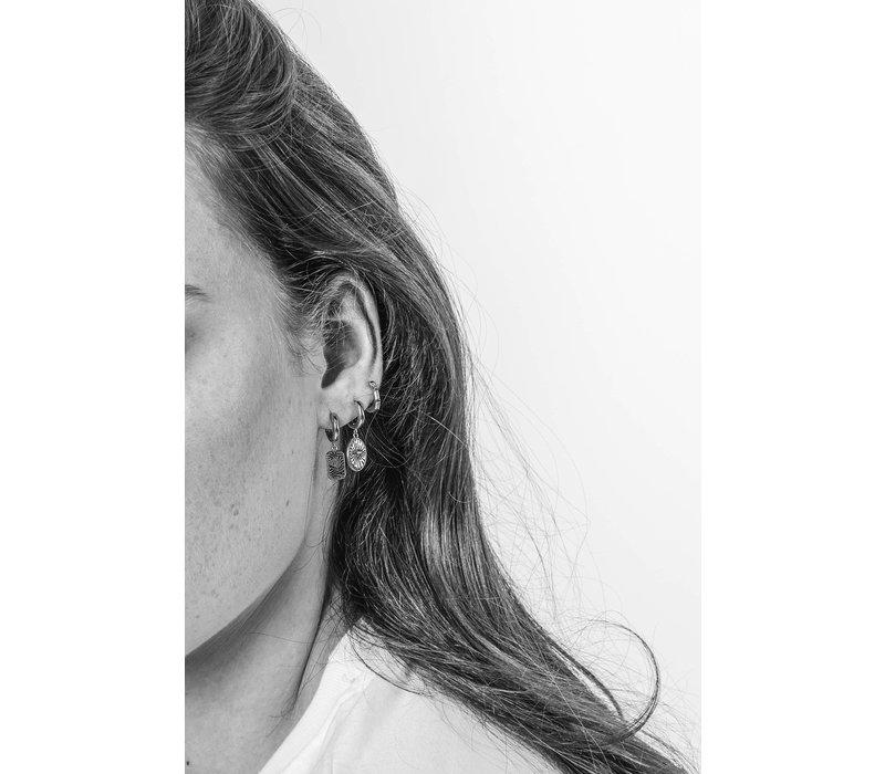 Charm Silverplated Oorbel Diamand Ovaal