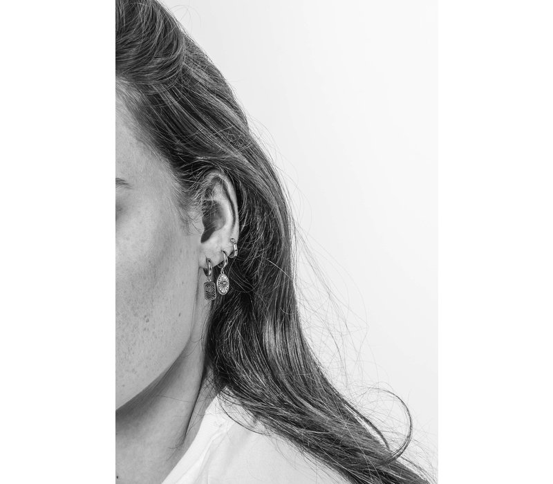 Oorbel Diamand Ovaal zilver