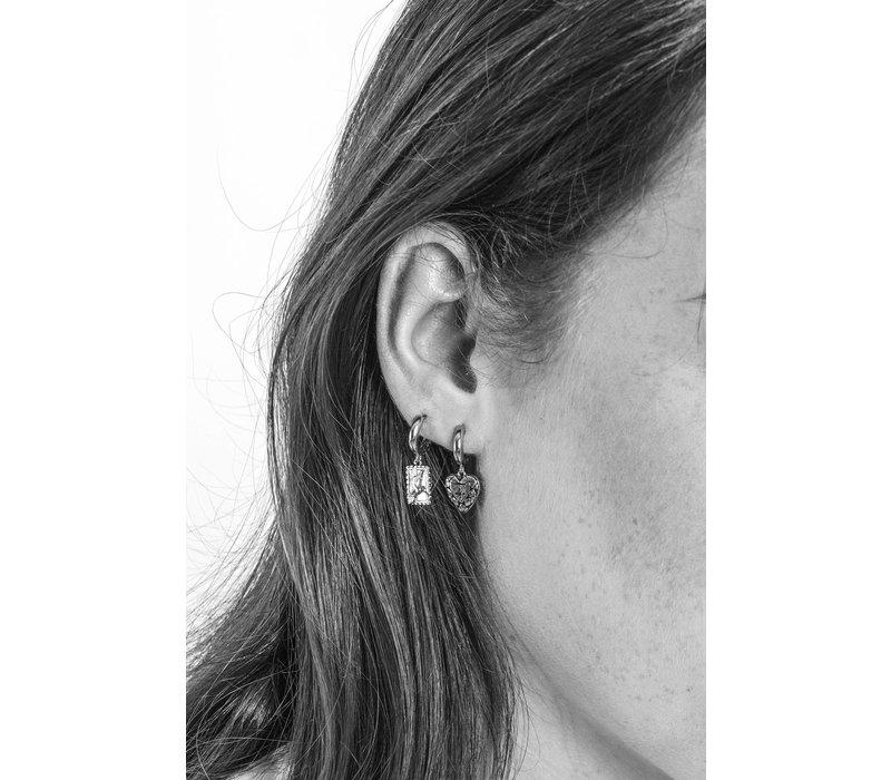 Charm Silverplated Oorbel Diamant Hart