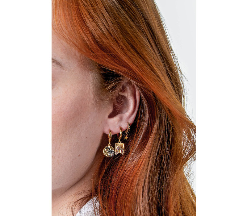 Bold Goldplated Earring Rainbow Square Multi Color