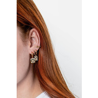 Earring Panter Square Multi Color plated