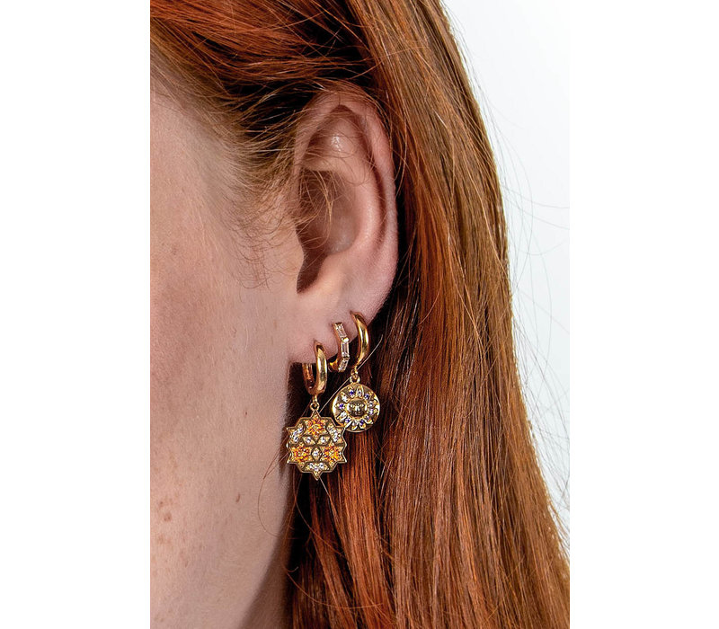 Bold Goldplated Earring Graphic Starry Circle Orange Pink