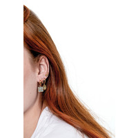 Bold Goldplated Earring Graphic Square Green Blue