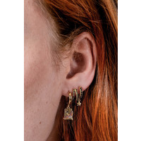 Bold Goldplated Earring Crane Rectangle Multi Color